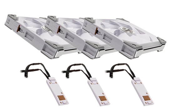 Kit Fan com 3 Unidades, Lian Li, Uni SL120, RGB, 120mm, Hidráulico, 1900RPM, White UF-SL120-3W