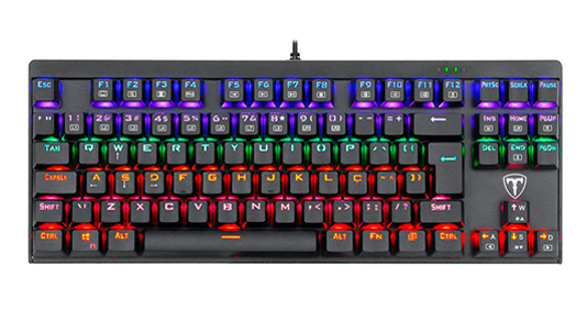 Teclado Gamer Mecânico T-Dagger Corvette LED, Switch Blue, Black