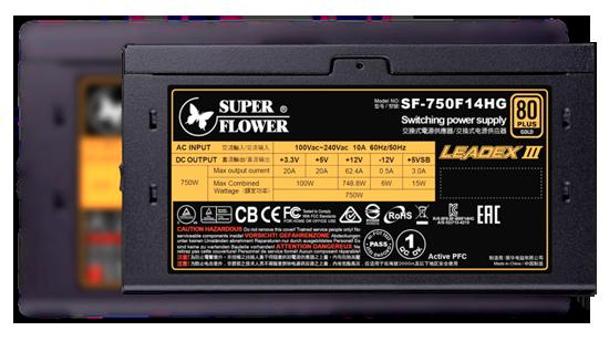 Fonte Super Flower LEADEX III 750W, 80 Plus Gold, PFC Ativo, SF-750F14HG