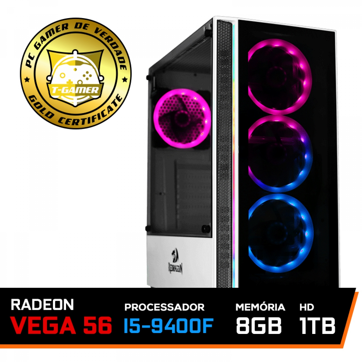 Pc Gamer Mega Soldier Lvl-4 Intel Core I5 9400F 9ª Gen / Radeon Vega 56 8GB / 8GB DDR4 / HD 1TB / 600w