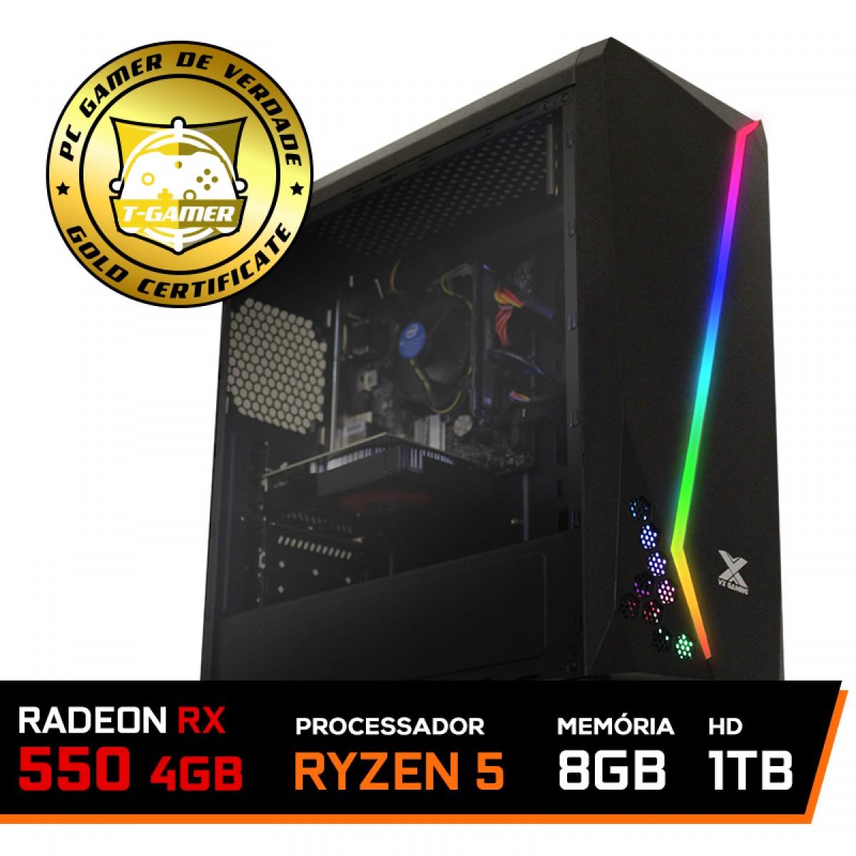 Pc Gamer Streamer Amd Ryzen 5 2400G / Radeon RX 550 4GB / DDR4 8GB / HD 1TB / 500W