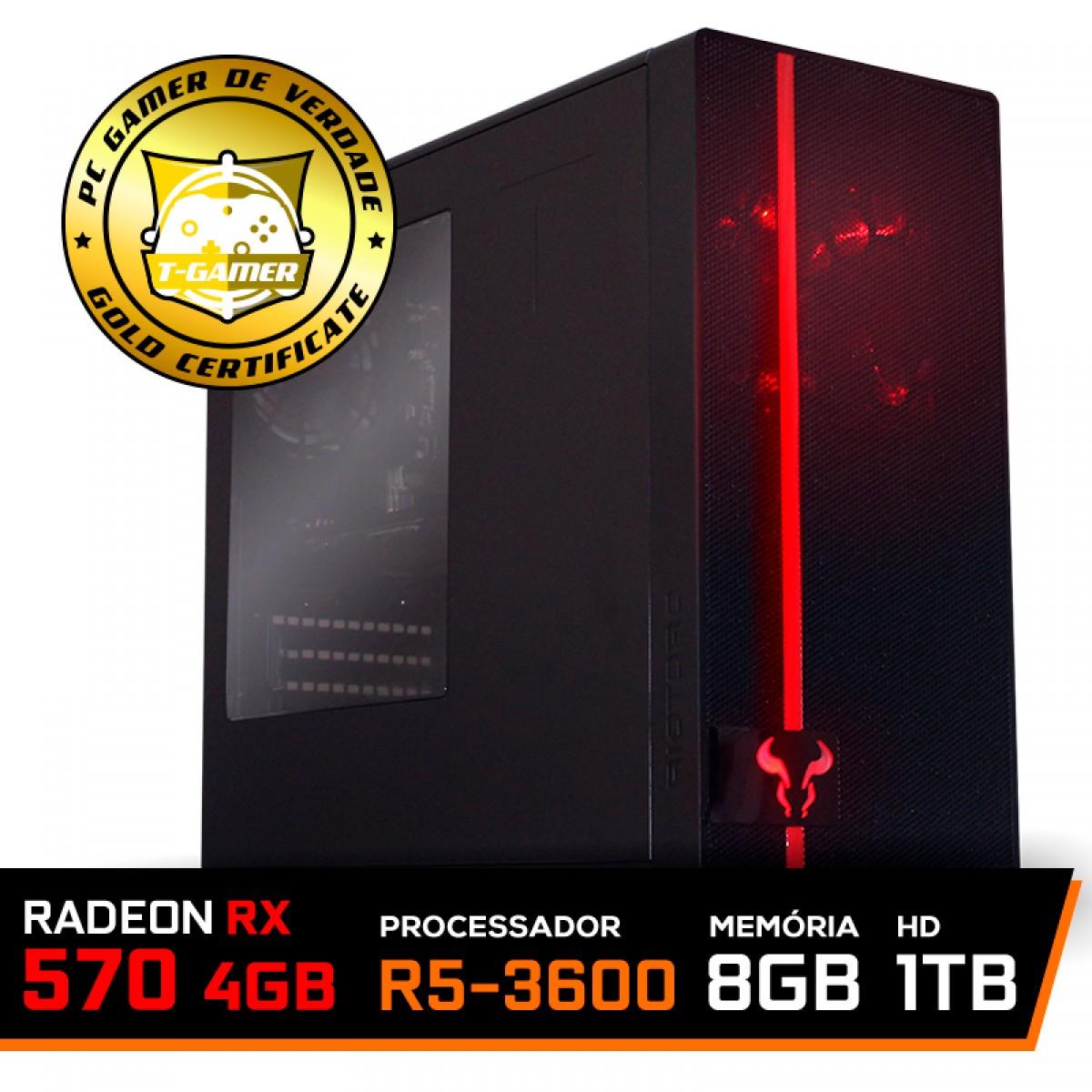 Pc Gamer Super T-Commander Lvl-1 AMD Ryzen 5 3600 / Radeon RX 570 4GB / DDR4 8GB / HD 1TB / 500W