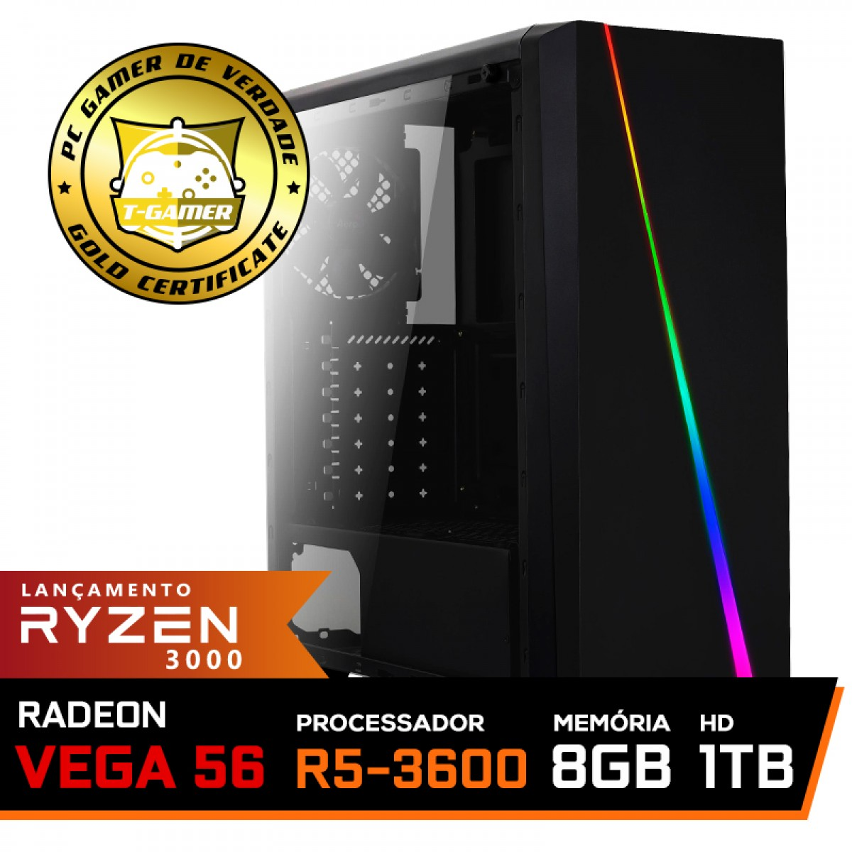 Pc Gamer Super T-Commander Lvl-4 AMD Ryzen 5 3600 / Radeon Vega 56 8GB / DDR4 8GB / HD 1TB / 600W / RZ3