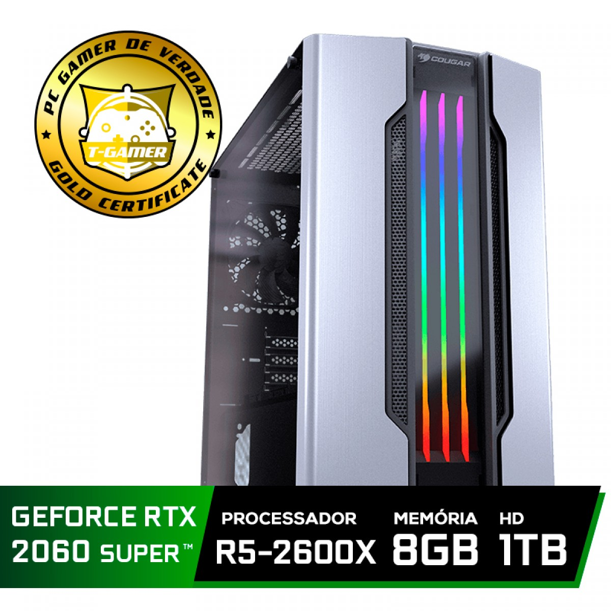 Pc Gamer Super Tera Edition AMD Ryzen 5 2600X / GeForce RTX 2060 Super / DDR4 8GB / HD 1TB / 600W