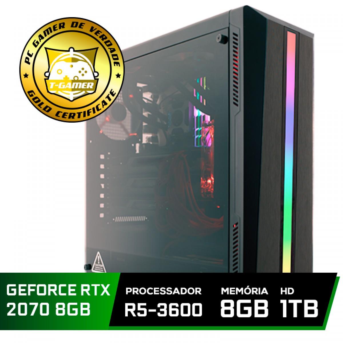 Pc Gamer Super Tera Edition AMD Ryzen 5 3600 / GeForce RTX 2070 / DDR4 8GB / HD 1TB / 600W