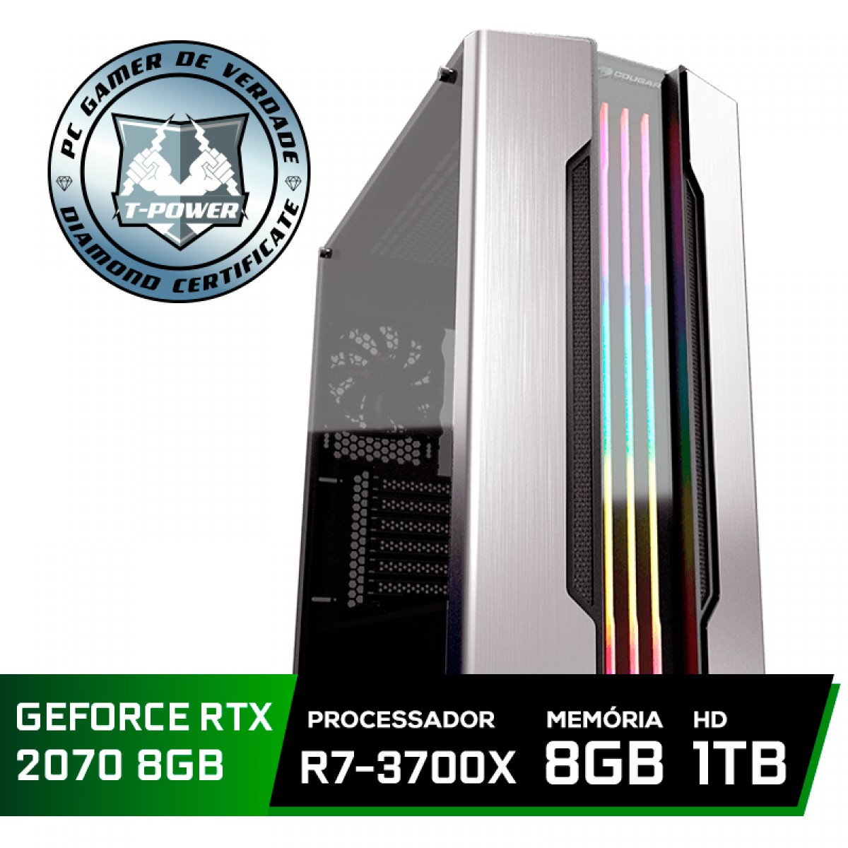 Pc Gamer Super Tera Edition AMD Ryzen 7 3700X / GeForce RTX 2070 / DDR4 8GB / HD 1TB / 600W