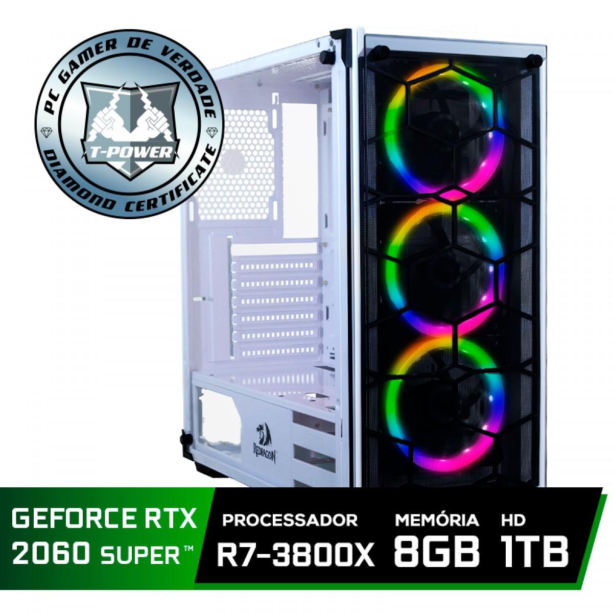 Pc Gamer Super Tera Edition AMD Ryzen 7 3800X / GeForce RTX 2060 Super / DDR4 8GB / HD 1TB / 600W