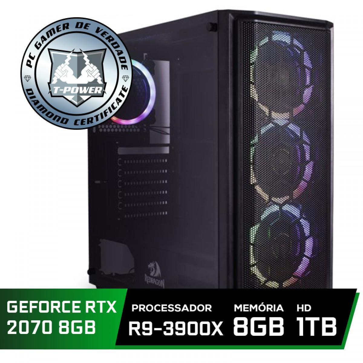 Pc Gamer Super Tera Edition AMD Ryzen 9 3900X / GeForce RTX 2070 / DDR4 8GB / HD 1TB / 600W