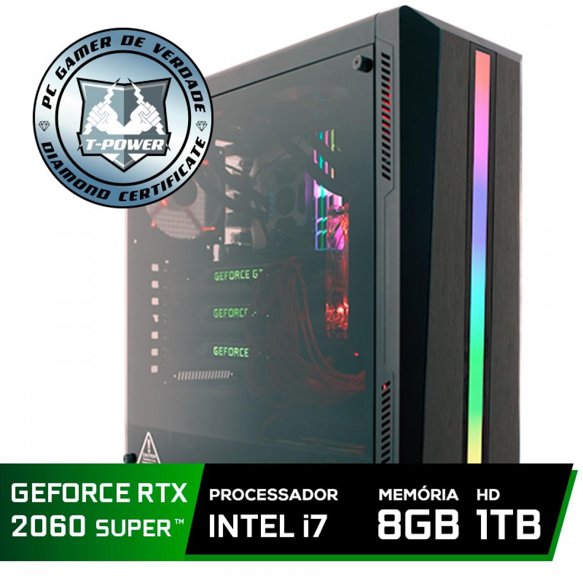 Pc Gamer Super Tera Edition Intel i7 9700K / Geforce RTX 2060 Super / DDR4 8GB / HD 1TB / 600W