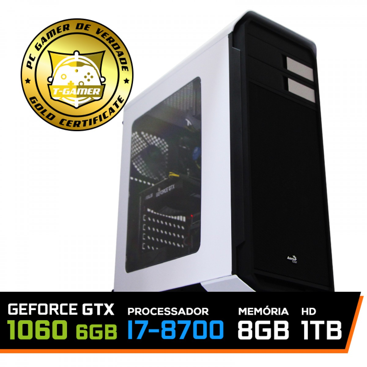 Pc Gamer T-Captain LVL-1 Intel i7 8700 / GeForce GTX 1060 6GB / DDR4 8GB / HD 1TB / 500W