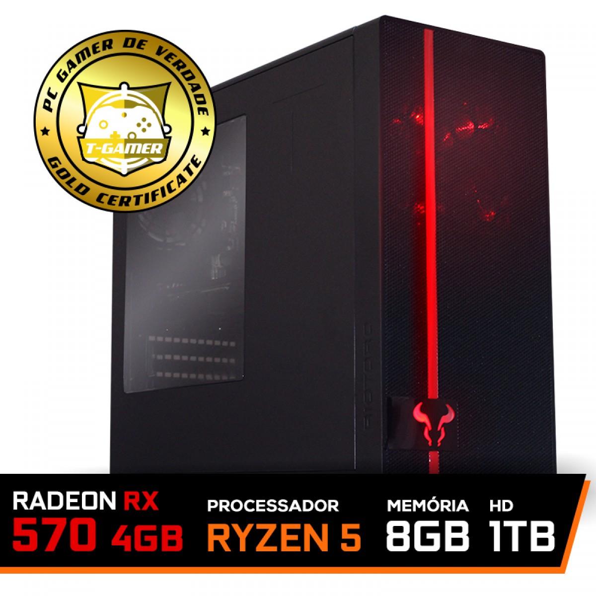 Pc Gamer T-Commander Lvl-6 Amd Ryzen 5 2600 / RADEON RX 570 4GB / DDR4 8GB / HD 1TB / 500W