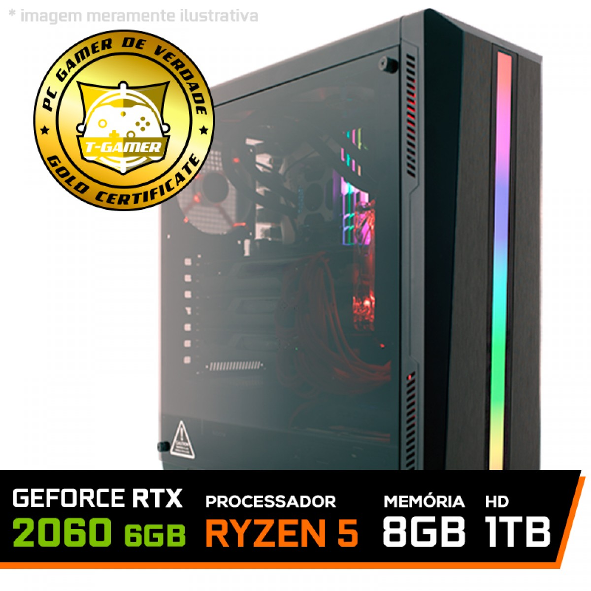 Pc Gamer T-Commander Lvl-3 Amd Ryzen 5 2600 / GeForce RTX 2060 6GB / DDR4 8GB / HD 1TB / 600W