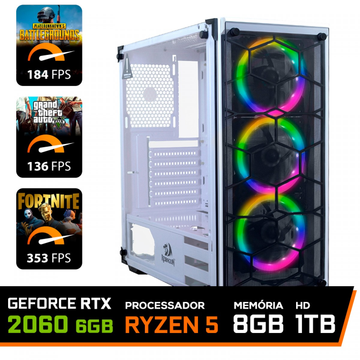 Pc Gamer T-Commander Lvl-3 Amd Ryzen 5 2600 / GeForce RTX 2060 6GB / DDR4 8GB / HD 1TB / 600W
