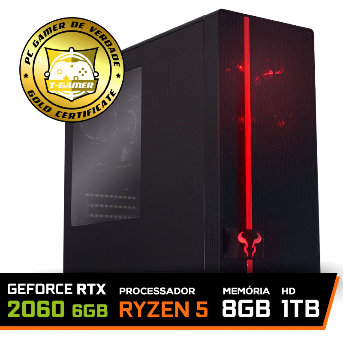 Pc Gamer T-Commander LVL-5 AMD Ryzen 5 2600 / GeForce RTX 2060 6GB / DDR4 8GB / HD 1TB / 600W