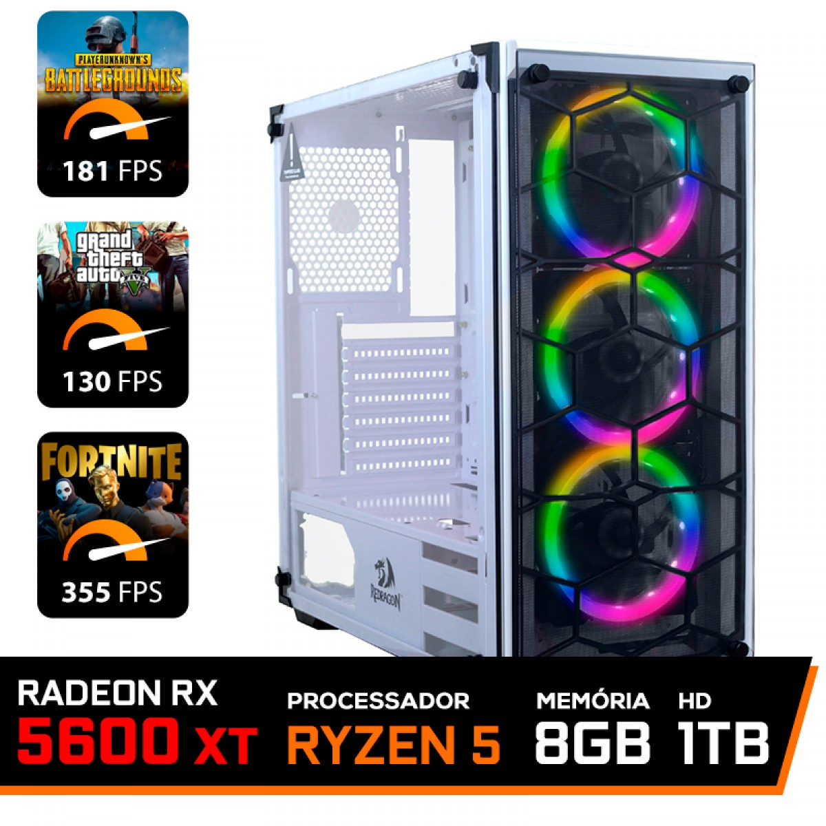 Pc Gamer T-Commander LVL-7 AMD Ryzen 5 3500 / Radeon RX 5600 XT 6GB / DDR4 8GB / HD 1TB / 600W