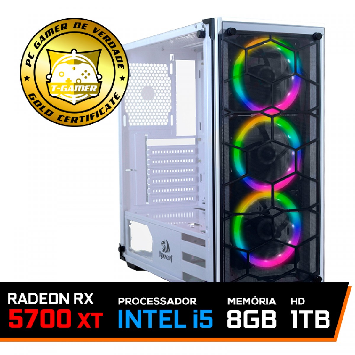 Pc Gamer T-Blade LVL-7 Intel Core i5 10400 / Radeon RX 5700 XT / DDR4 8GB / HD 1TB / 600W