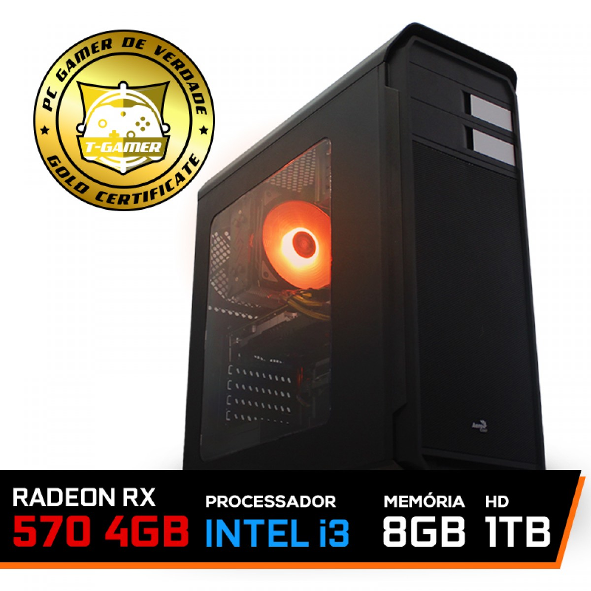 Pc Gamer T-Gamer Dominator Lvl-6 Intel I3 9100F / Radeon RX 570 4GB / DDR4 8GB / HD 1TB