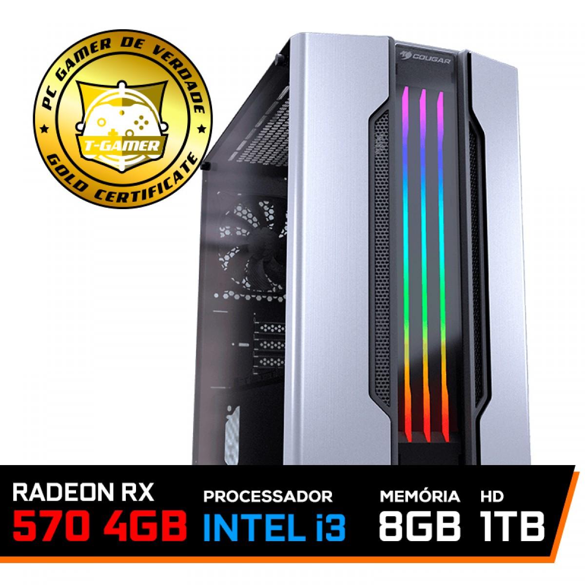 Pc Gamer T-Gamer Dominator Lvl-6 Intel I3 9100F / Radeon RX 570 4GB / DDR4 8GB / HD 1TB