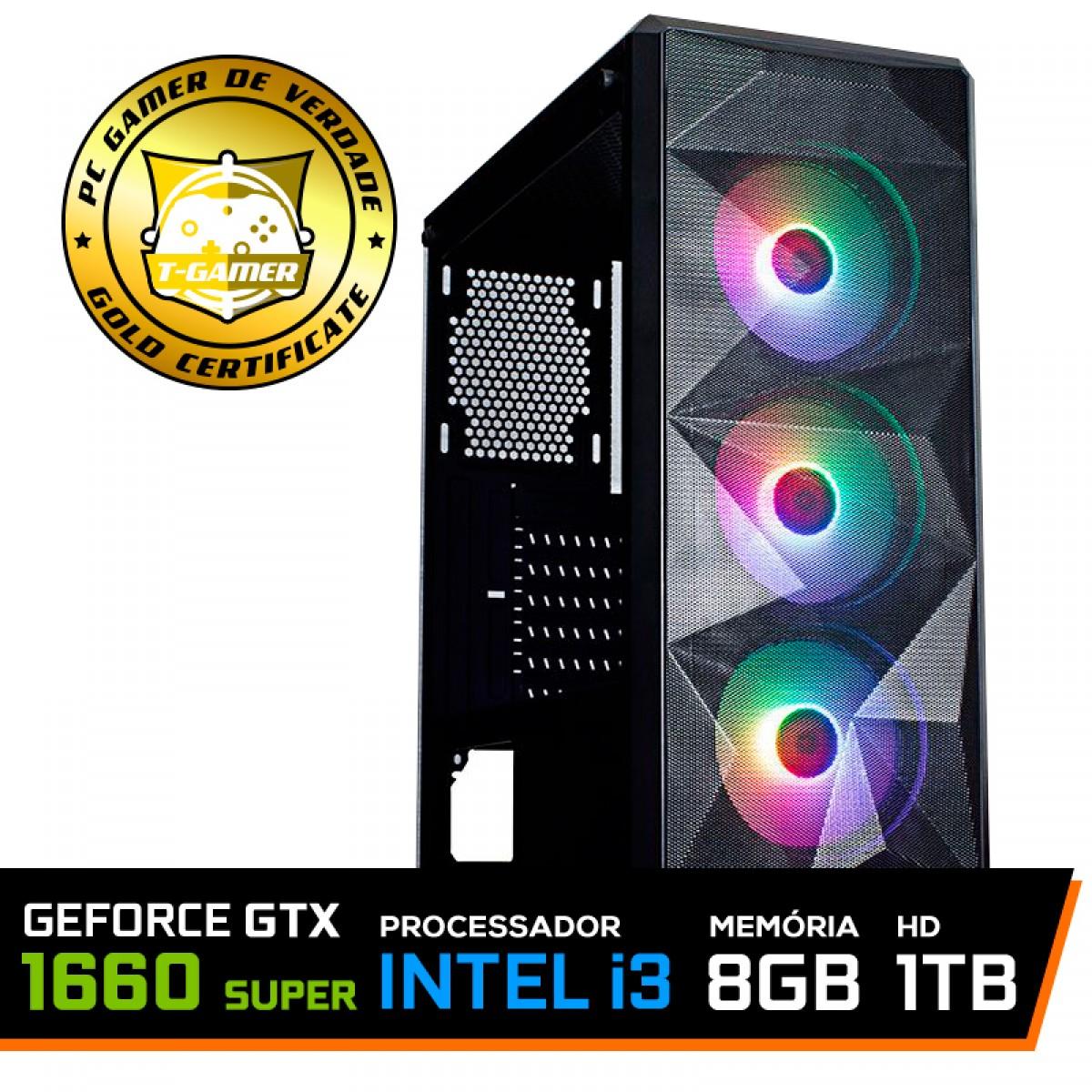 Pc Gamer T-Rival LVL-7 Intel Core i3 10100 / GeForce GTX 1660 Super / DDR4 8GB / HD 1TB / 500W
