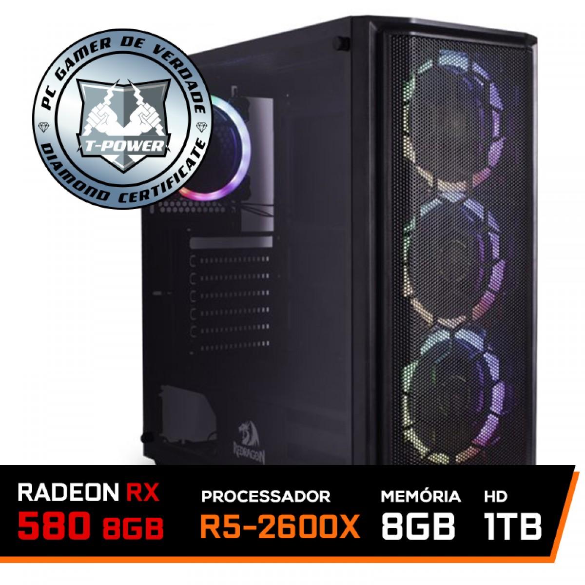 Pc Gamer T-Power Major Lvl-5 Amd Ryzen 5 2600x / Radeon Rx 580 8GB / DDR4 8Gb / Hd 1Tb / 500W