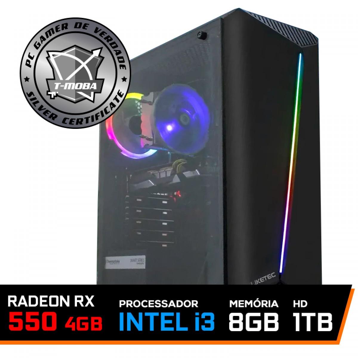 Pc Gamer T-moba Dominator Lvl-4 Intel I3 9100F / Radeon Rx 550 4GB / DDR4 8GB / HD 1TB