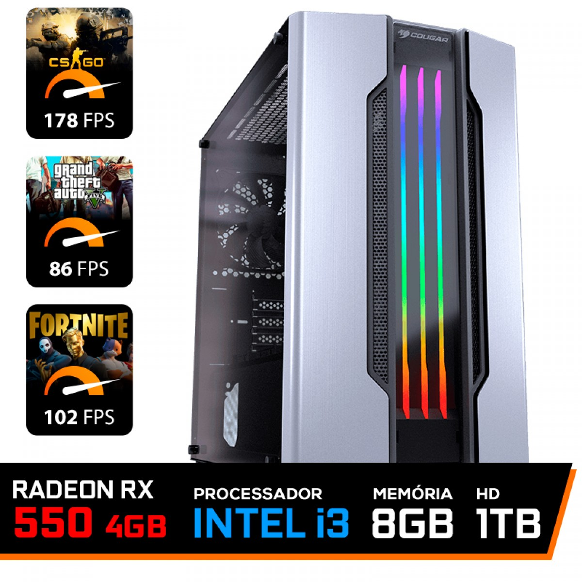Pc Gamer T-Moba Dominator Lvl-4 Intel I3 9100F / Radeon Rx 550 4GB / DDR4 8GB / HD 1TB
