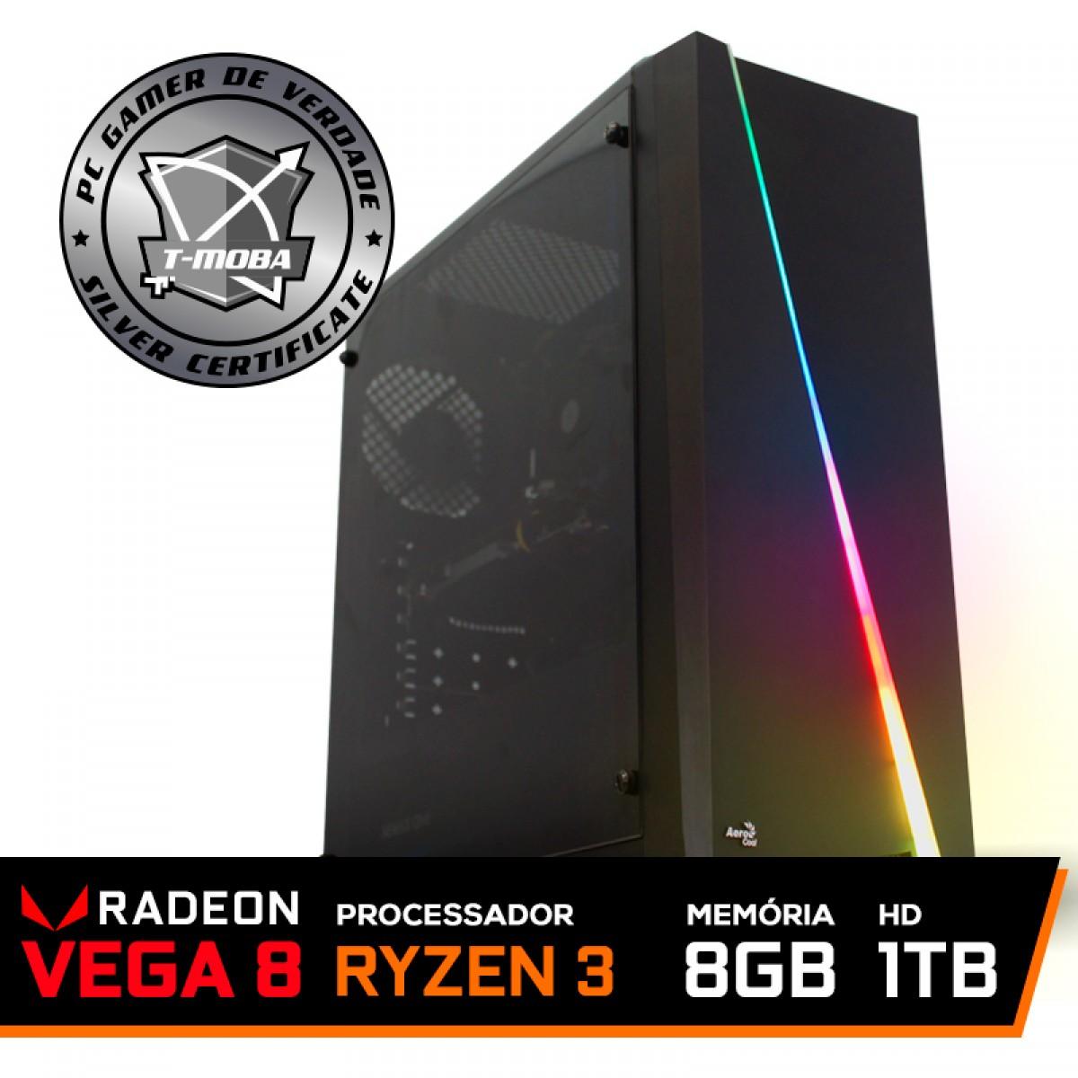 Pc Gamer T-Moba Furios Lvl-1 AMD Ryzen 3 3200G / DDR4 8GB / HD 1TB