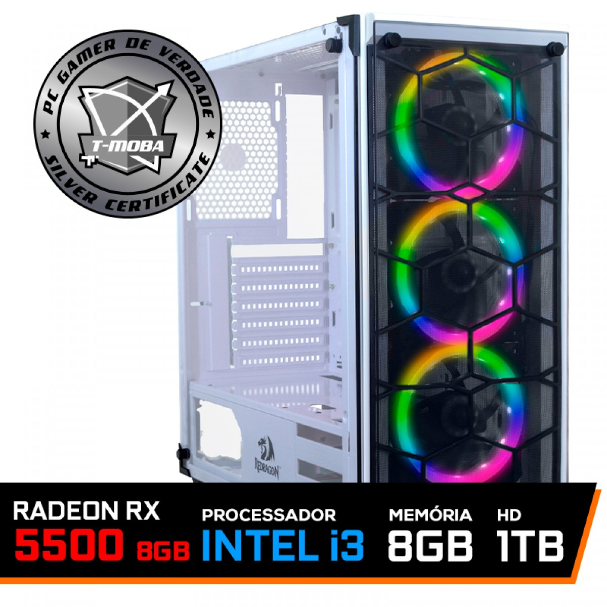 Pc Gamer T-Moba Rival LVL-4 Intel Core i3 10100 / Radeon RX 5500 XT 8GB / DDR4 8GB / HD 1TB / 600W