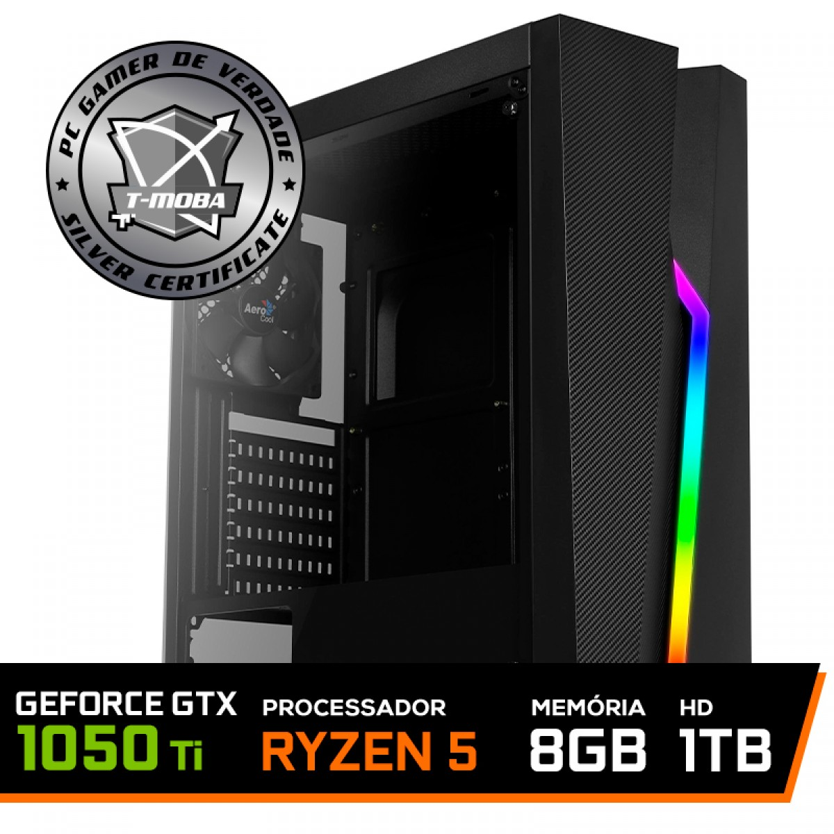 Pc Gamer T-Moba Ultimate LVL-1 AMD Ryzen 5 3400G / Geforce GTX 1050 Ti 4GB / DDR4 8GB / HD 1TB
