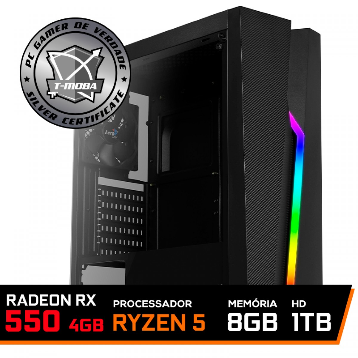 Pc Gamer T-Moba Ultimate Lvl-2 AMD Ryzen 5 3400G / Radeon Rx 550 4GB / DDR4 8GB / HD 1TB
