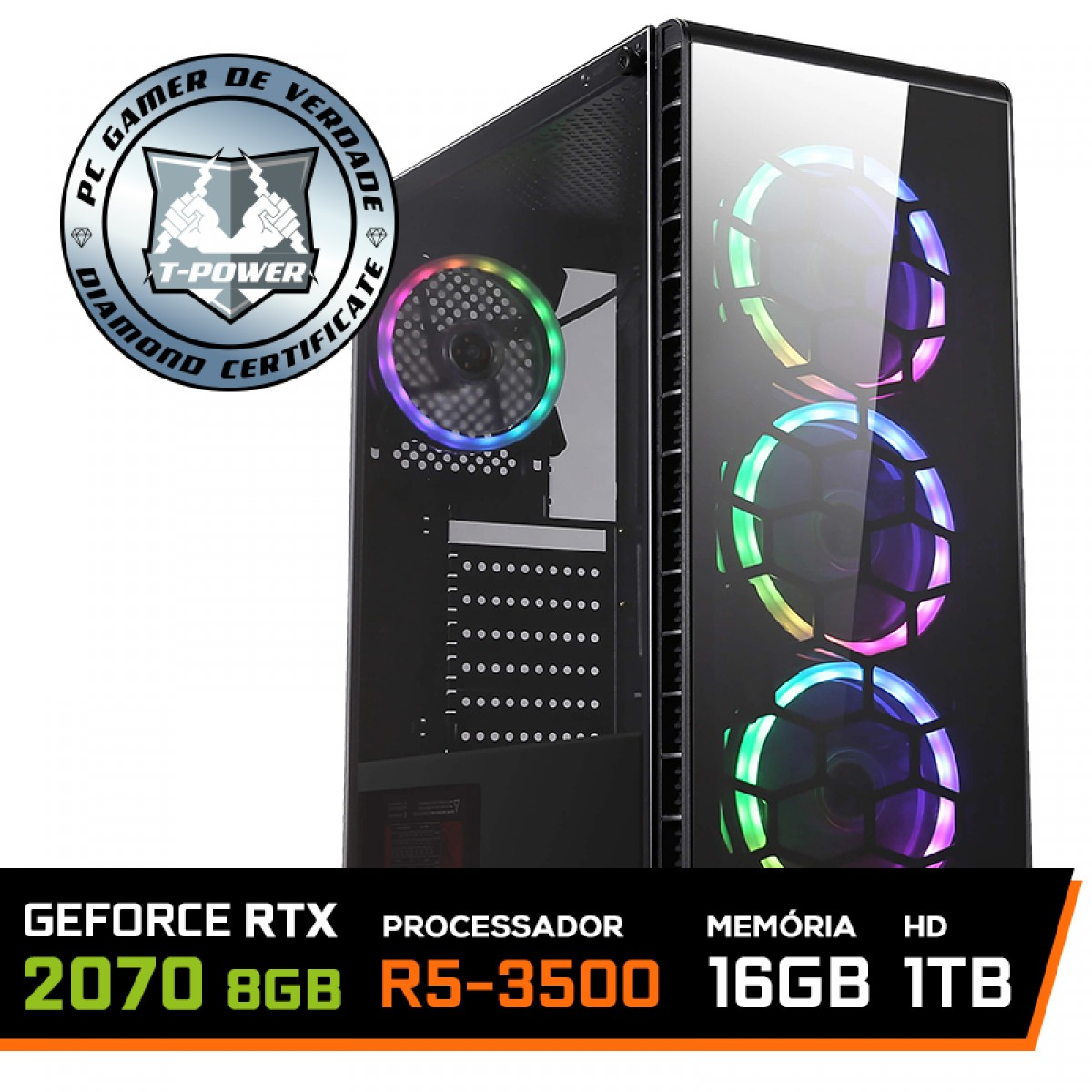 Pc Gamer T-Power Brutal Lvl-2 AMD Ryzen 5 3500 / Geforce RTX 2070 8GB / DDR4 16GB / HD 1Tb / 600W