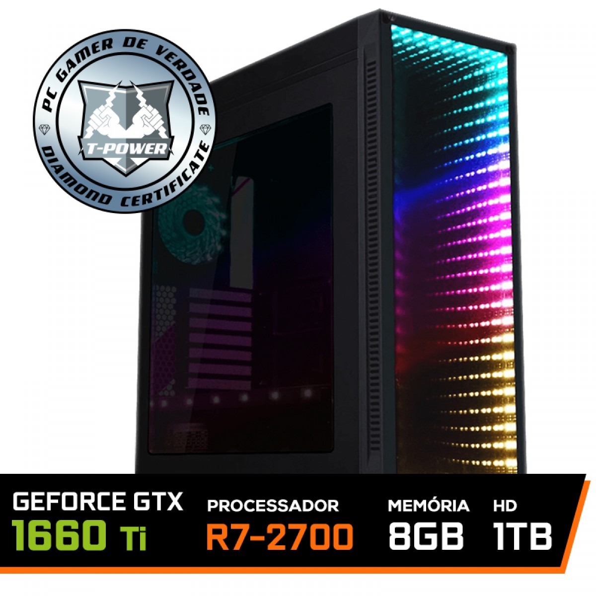 Pc Gamer T-Power Colonel Lvl-2 AMD Ryzen 7 2700 / GeForce GTX 1660 6GB / DDR4 8GB / HD 1TB / 600W
