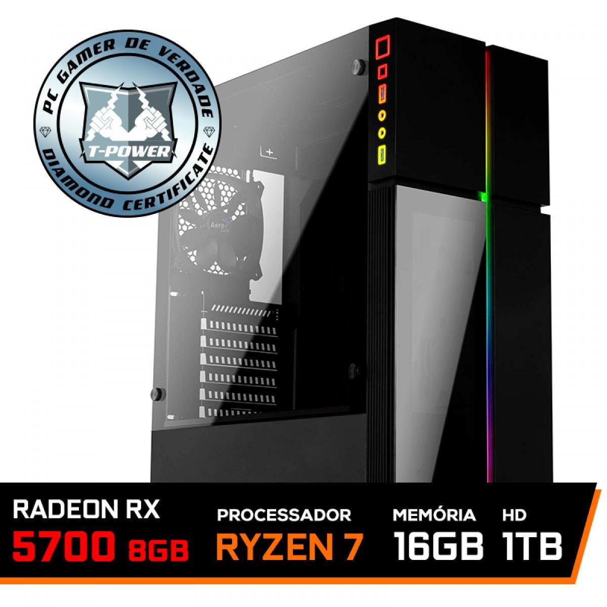 Pc Gamer T-Power Destroyer Lvl-1 AMD Ryzen 7 3800X / Radeon RX 5700 8GB / DDR4 16GB / HD 1TB / 600W