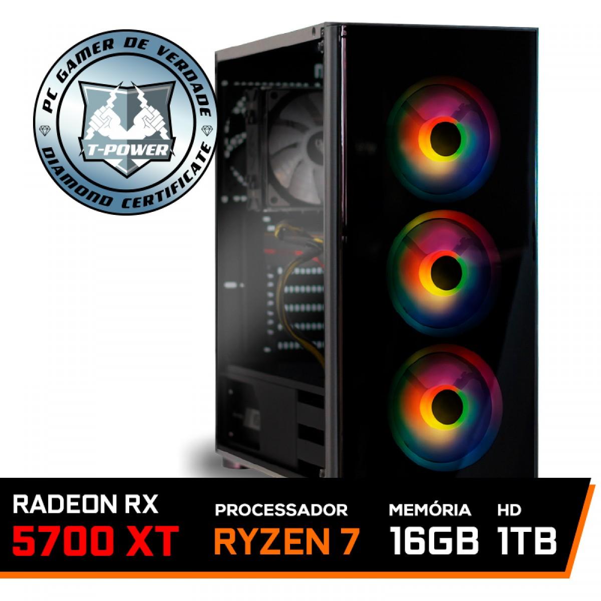 Pc Gamer T-Power Destroyer Lvl-3 AMD Ryzen 7 3800X / Radeon RX 5700 XT 8GB / DDR4 16GB / HD 1TB / 600W
