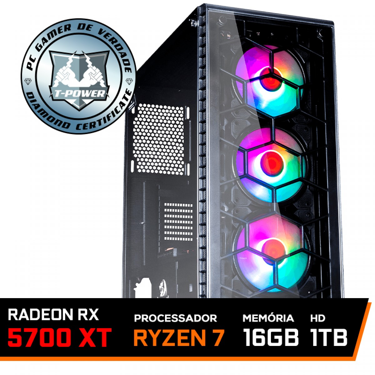 Pc Gamer T-Power Destroyer Lvl-3 AMD Ryzen 7 3800X / Radeon RX 5700 XT 8GB / DDR4 16GB / HD 1TB / 600W
