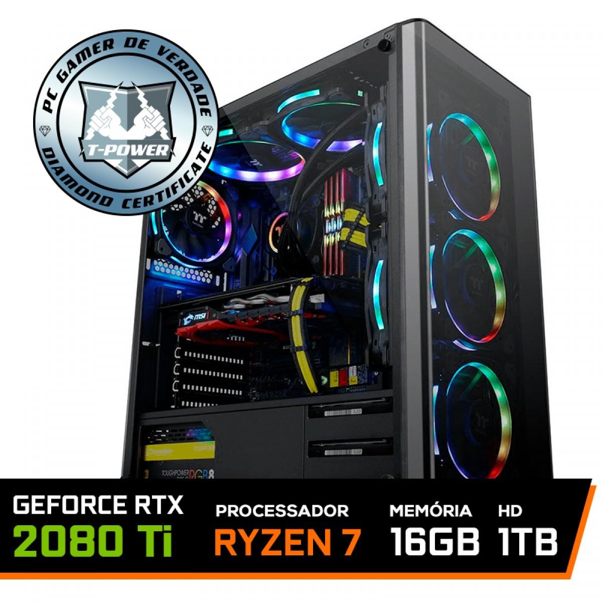 Pc Gamer T-Power Destroyer Lvl-6 AMD Ryzen 7 3800X / GeForce RTX 2080 Ti / DDR4 16GB / HD 1TB / 600W