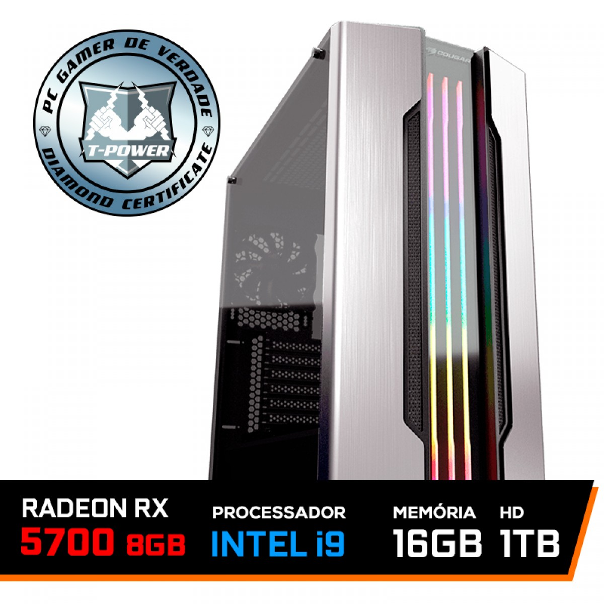 Pc Gamer T-Power Inferno LVL-1 Intel I9 9900KF 3.60GHz / Radeon RX 5700 8GB / DDR4 16GB / HD 1TB / 750W