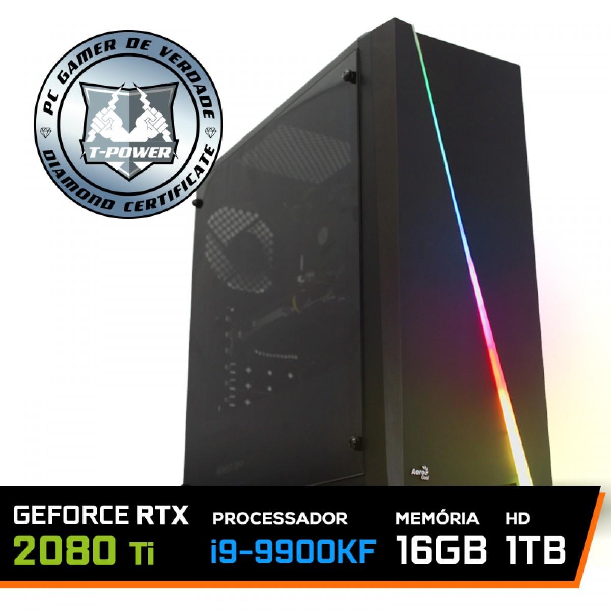 Pc Gamer T-Power Inferno Lvl-4 Intel I9 9900kF 3.60GHz / Geforce RTX 2080 Ti 11GB / DDR4 16GB / HD 1TB / 700W