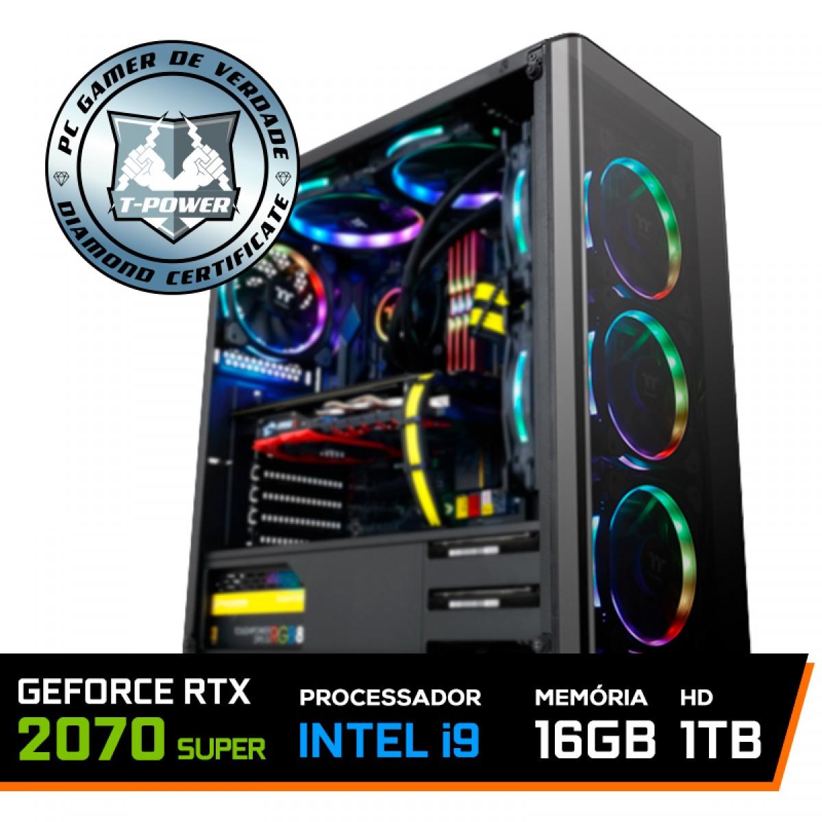 Pc Gamer T-Power Inferno LVL-4 Intel I9 9900K 3.60GHz / Geforce RTX 2070 Super / DDR4 16GB / HD 1TB / 750W
