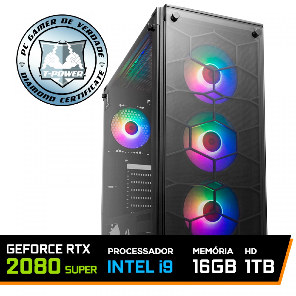 Pc Gamer T-Power Inferno LVL-5 Intel I9 9900K 3.60GHz / Geforce RTX 2080 Super / DDR4 16GB / HD 1TB / 750W