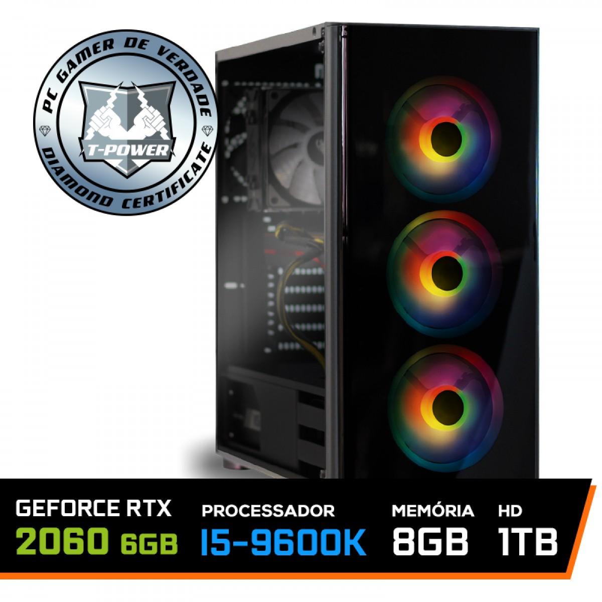 Pc Gamer T-power Glorious Edition Lvl-1 Intel I5 9600k / Geforce RTX 2060  6GB / DDR4 8GB / HD 1TB / 600W