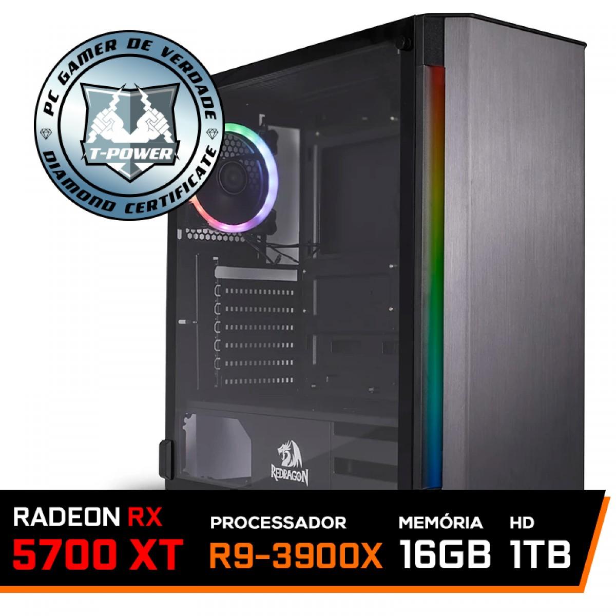 Pc Gamer T-Power Stormbreaker Lvl-4 AMD Ryzen 9 3900X / Radeon NAVI RX 5700 XT 8GB / DDR4 16GB / HD 1TB / 700W