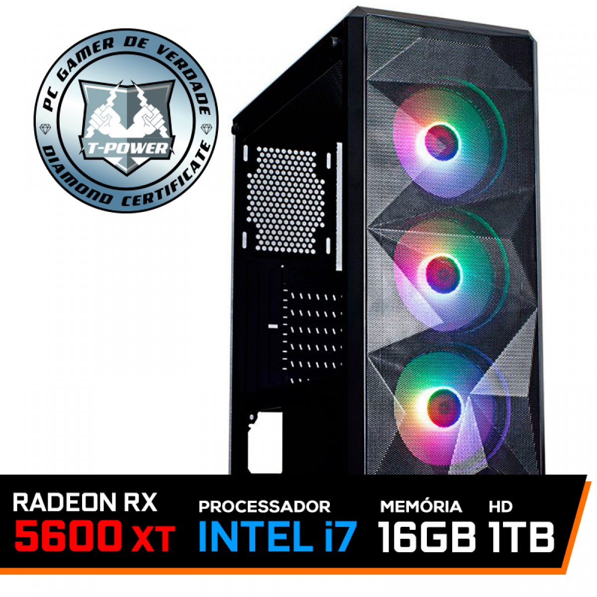 Pc Gamer T-Power Strong Lvl-1 Intel Core i7 10700 / Radeon RX 5600 XT 6GB / DDR4 16GB / HD 1TB / 600W
