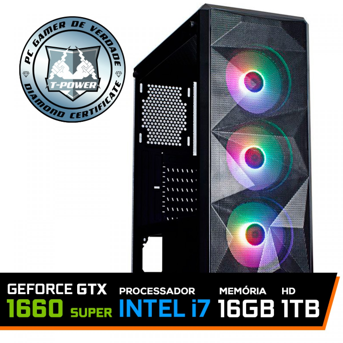 Pc Gamer T-Power Strong Lvl-4 Intel Core i7 10700 / GeForce GTX 1660 Super 6GB / DDR4 16GB / HD 1TB / 600W