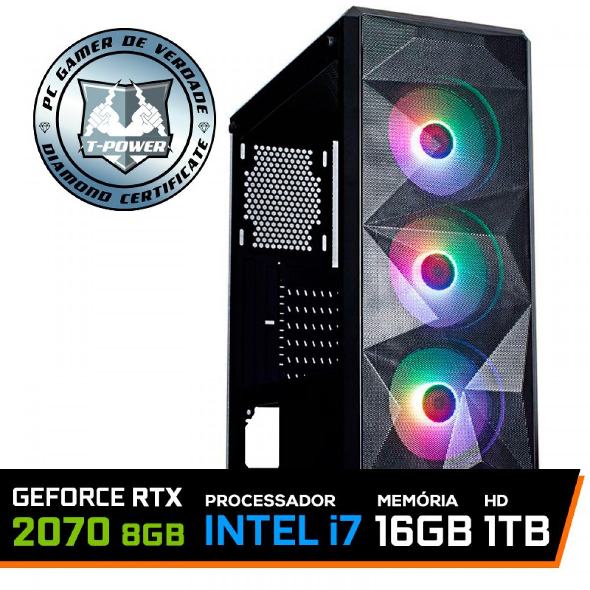 Pc Gamer T-Power Strong Lvl-7 ntel Core i7 10700 / GeForce RTX 2070 / DDR4 16GB / HD 1TB / 600W