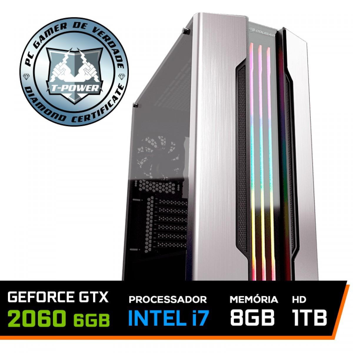 PC Gamer T-Power Edition Intel I7 8700K / Geforce RTX 2060 6GB / DDR4 8GB / HD 1TB / 600W