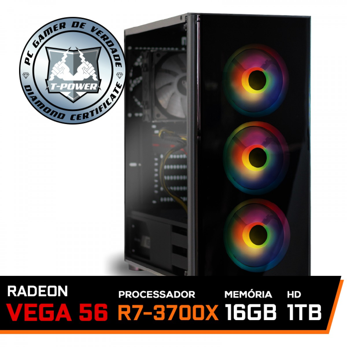 Pc Gamer T-Power Super Warlord Lvl-1 AMD Ryzen 7 3700X / Radeon Vega 56 8GB / DDR4 16GB / HD 1TB / 600W / RZ3