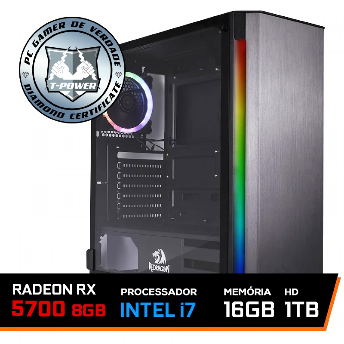 PC Gamer T-Power Captain Lvl-1 Intel I7 9700KF 3.60GHz / Radeon RX 5700 8GB / 16GB DDR4 / HD 1TB / 600W
