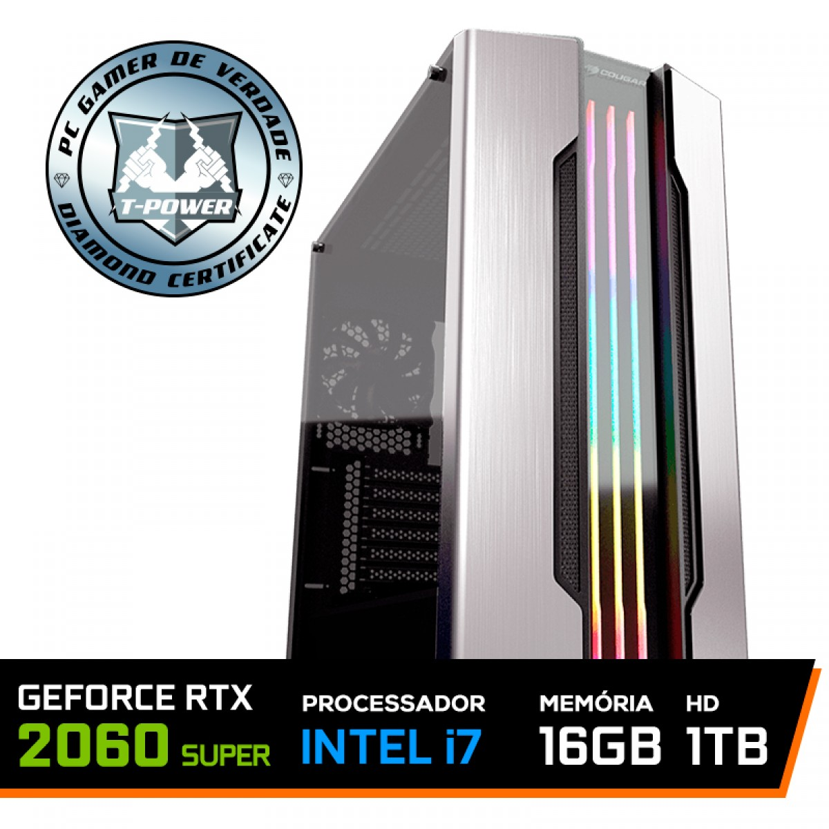 PC Gamer T-Power Captain Lvl-2 Intel I7 9700K 3.60GHz / Geforce RTX 2060 Super / 16GB DDR4 / HD 1TB / 600W