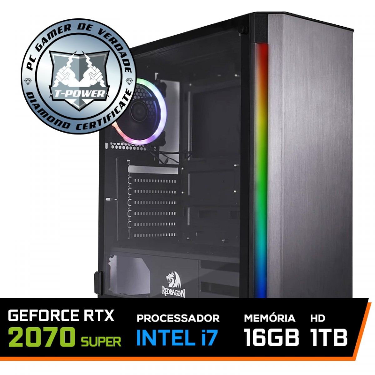 PC Gamer T-Power Captain Lvl-4 Intel I7 9700K 3.60GHz / Geforce RTX 2070 Super / 16GB DDR4 / HD 1TB / 600W